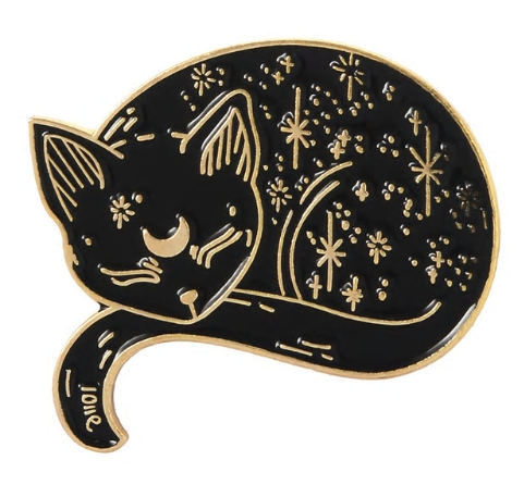 Metal Pin badge - Sleeping Moon & Stars Cat - Gold Colour