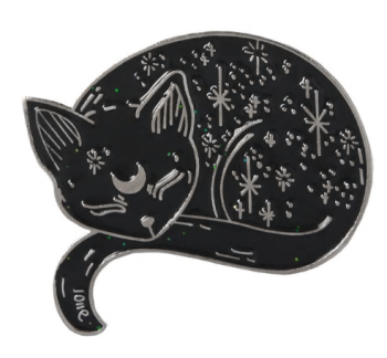 Metal Pin badge - Sleeping Moon & Stars Cat - Silver Colour