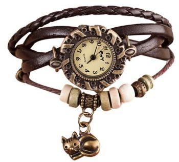 PU Leather Cat Bracelet Watch With Charm