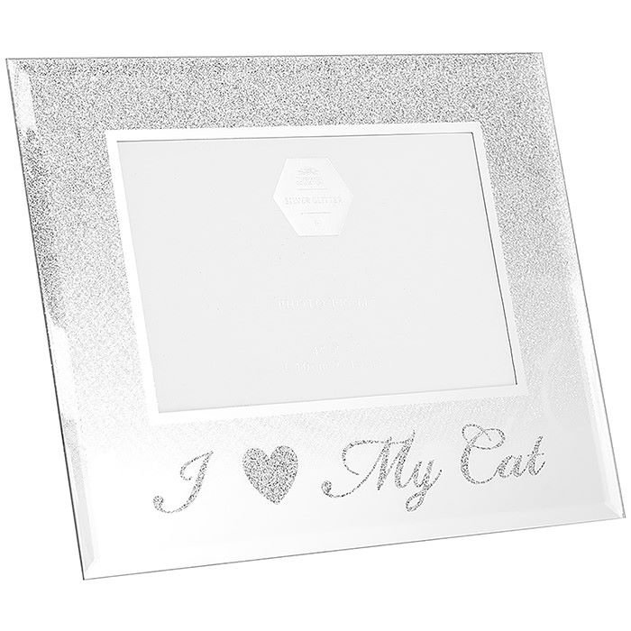 I Love My Cat - Silver Glitter Frame