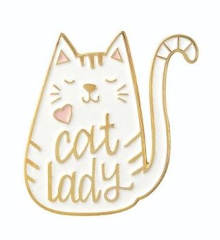 Metal Pin badge - Cat lady - White
