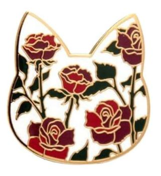 Flower Pattern Cat Enamel Pin Badge - Red Rose/White