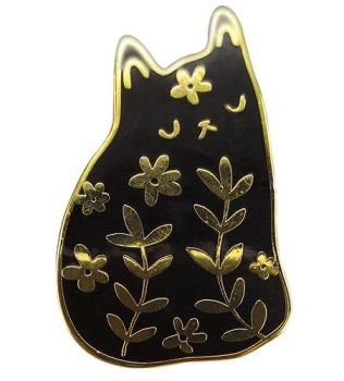 Black & Gold Enamel Floral Cat Pin