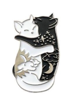 Metal Pin badge - Cat Hugs - Silver Colour