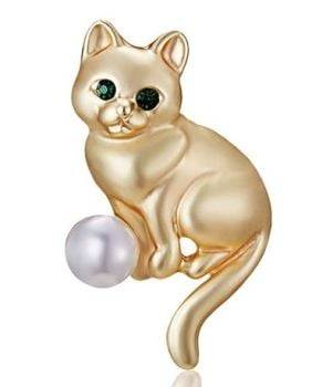 Emerald Eyes Kitten & Pearl Ball Brooch