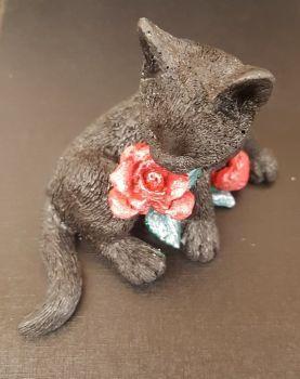 Black Cat & Rose Figurine