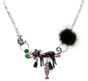 Enamel Cat Charm Necklace - Black Pom Pom