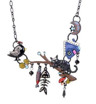 Enamel Cat Charm Necklace - Black Cat On A Branch (A)