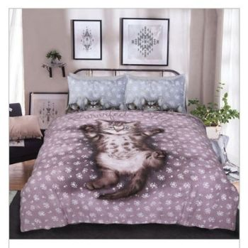 Cute Kittens Pink Reversible Duvet Set - KING