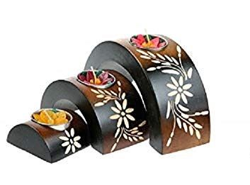 Hand Carved - Set of 3 Arched Candle Holders - Wooden - Carved - WAS £15.99