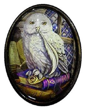 Lisa Parker Glass Cabochon Necklace - Snowy Owl