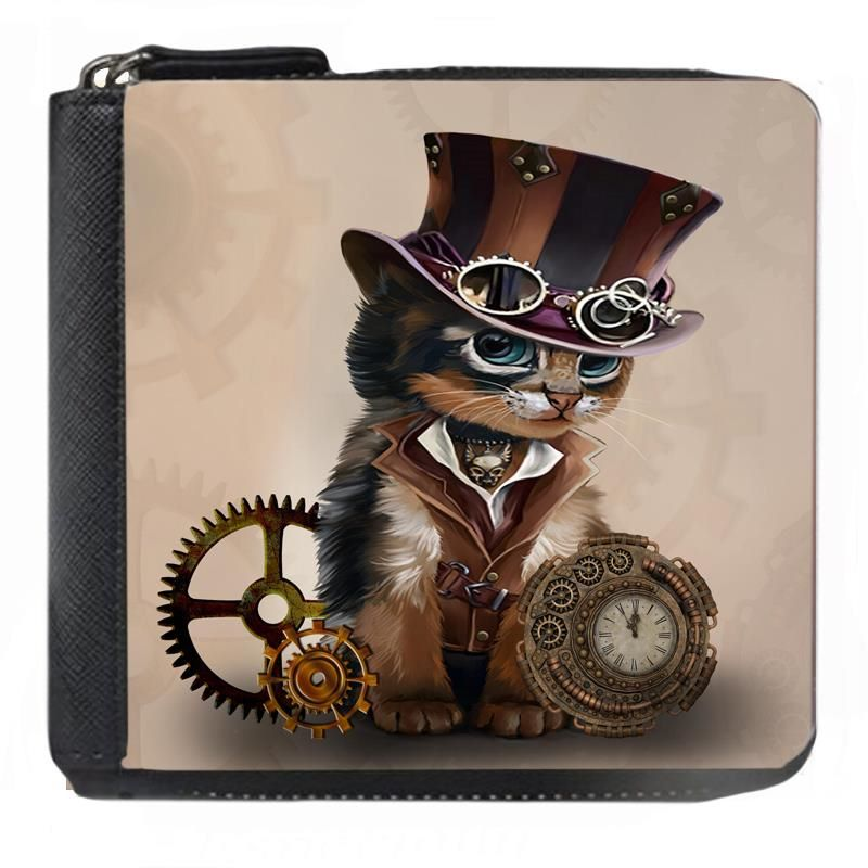 The Time Keeper - Steampunk Cat - Small Purse - Boxed