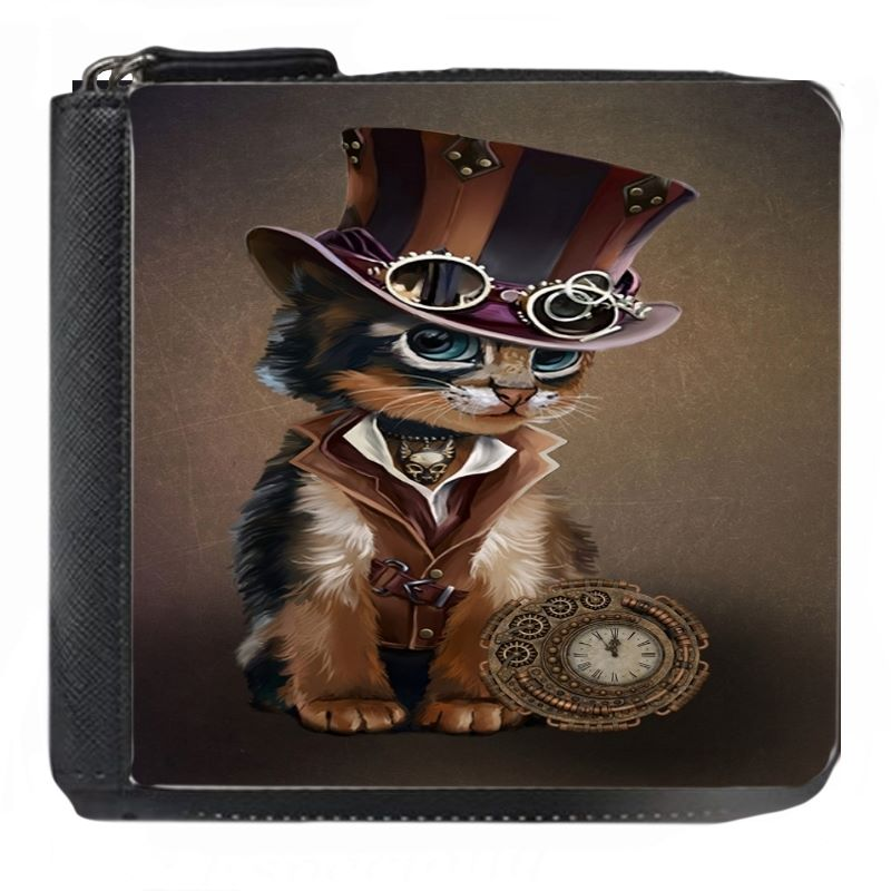 The Time Keeper - Steampunk Cat - Small Purse - Boxed - DARK