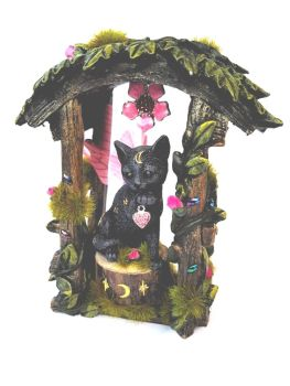 C239 - Black Fairy Cat In Arch - Pink Wings
