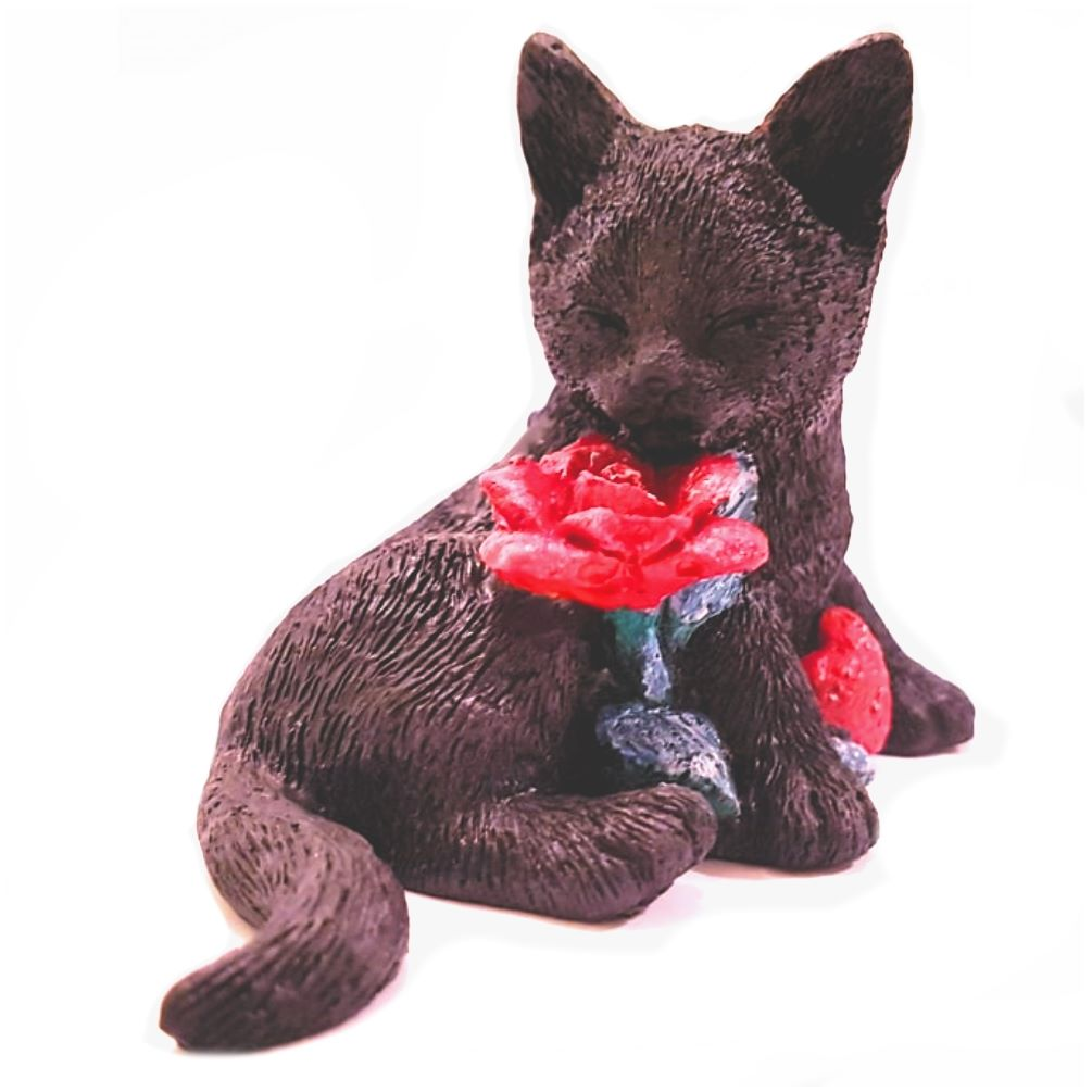 Black Cat & Rose Figurine