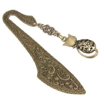 Bronze Effect Ornate Detail Cat Bookmark