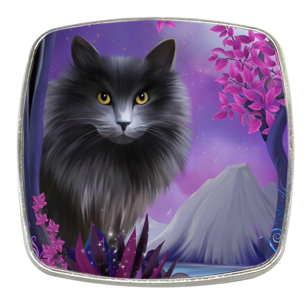 Fantasy Cat - Obsidion - Chrome Finish Metal Magnet