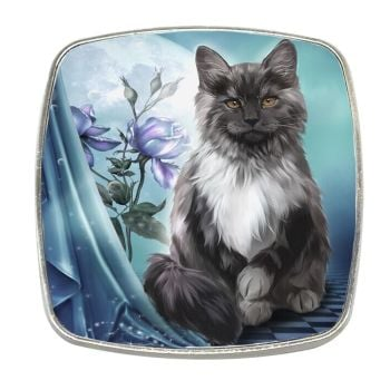 Black Cat Ember - Chrome Finish Metal Magnet