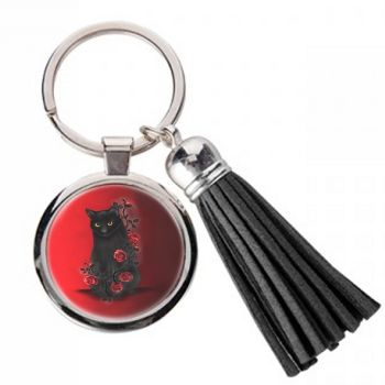 Black Cat & Red Roses - Metal Keyring & Tassel