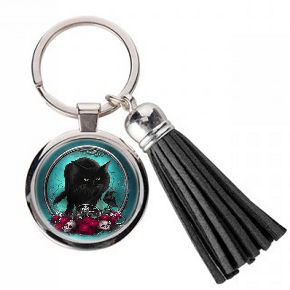 Familiar Protection - Black Cat & Raven - Metal Keyring & Tassel