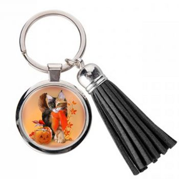 Pumpkin - Metal Keyring With Tassel