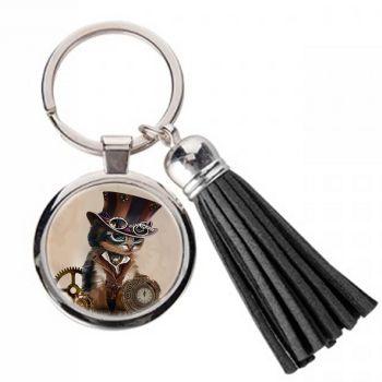 Steampunk cat LITE- Metal Keyring & Tassel