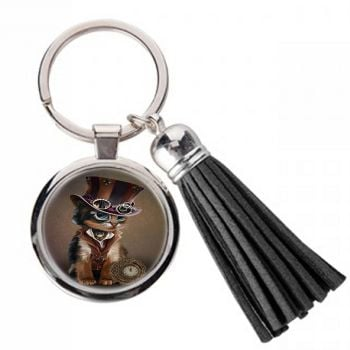 The Time Keeper - Steampunk cat - Metal Keyring & Tassel