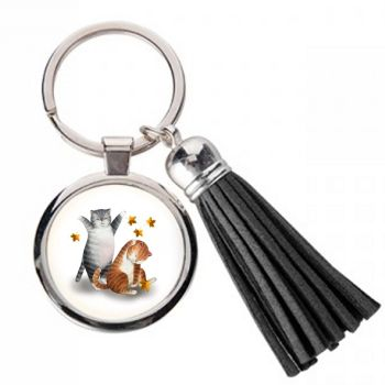 Happy Cats - Metal Keyring & Tassel