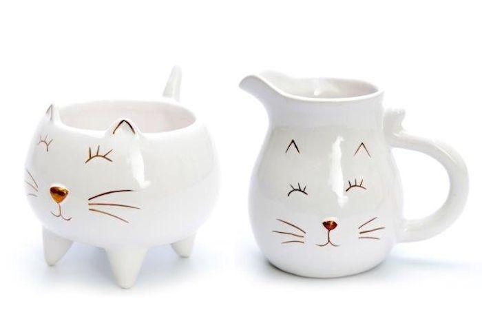 Glossy Cat Milk And Sugar Pot Set