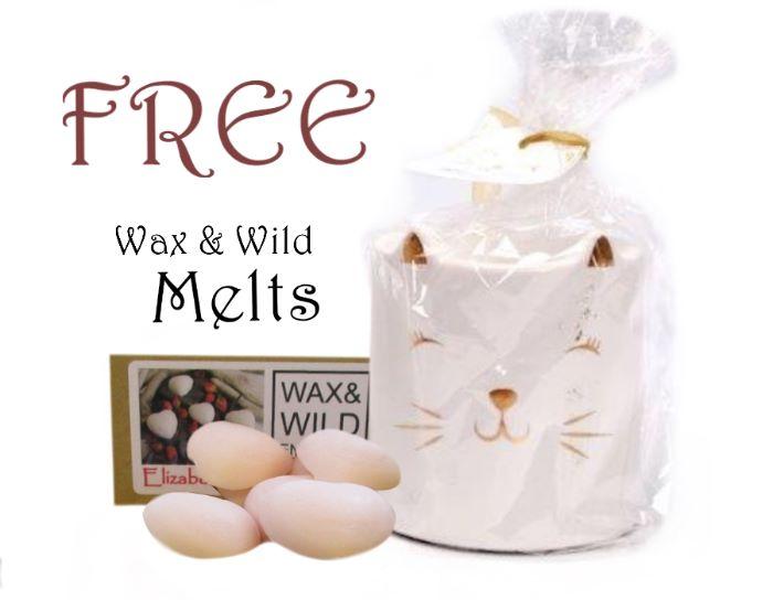 Glossy Cat Wax Melter / Oil Burner & 4 Free Wax melts