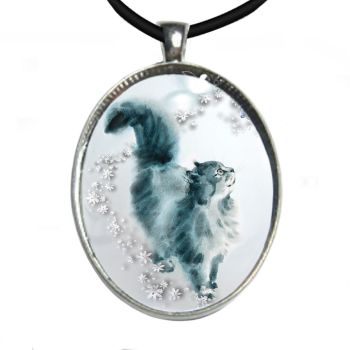 Silver Plated Large Oval Cabochon Necklace - Love & A Cat