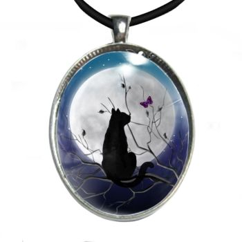Silver Plated Large Oval Cabochon Necklace - Cat, Moon & Butterfly