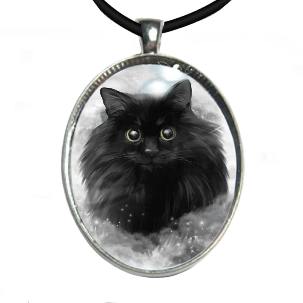 Silver Plated Large Oval Cabochon Necklace - Storm