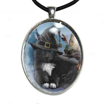 Silver Plated Large Oval Cabochon Necklace - The Magician