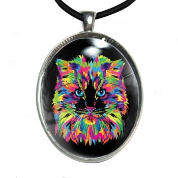 Silver Plated Large Oval Cabochon Necklace - Rainbow Cat Face