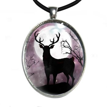 Silver Plated Large Oval Cabochon Necklace - Stag