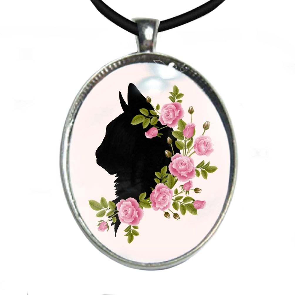 Silver Plated Large Oval Cabochon Necklace - Cat Head & Flowers