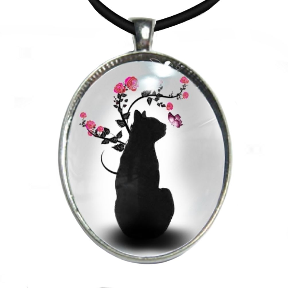 Silver Plated Large Oval Cabochon Necklace - Black Cat Sitting & Butterfly