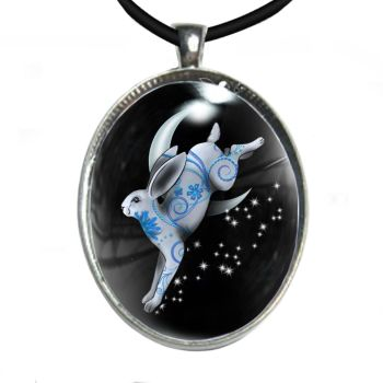 Silver Plated Large Oval Cabochon Necklace - Leaping Hare & Moon