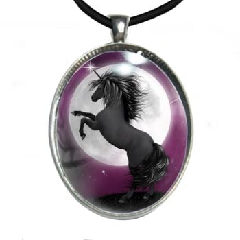 Silver Plated Large Oval Cabochon Necklace - Black Unicorn