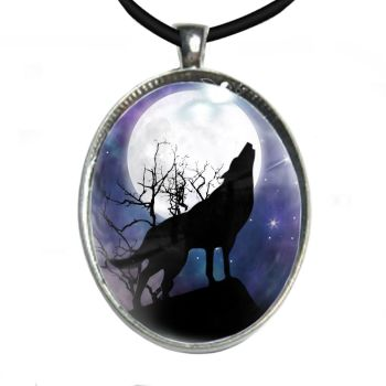 Silver Plated Large Oval Cabochon Necklace - Howling Moon Wolf