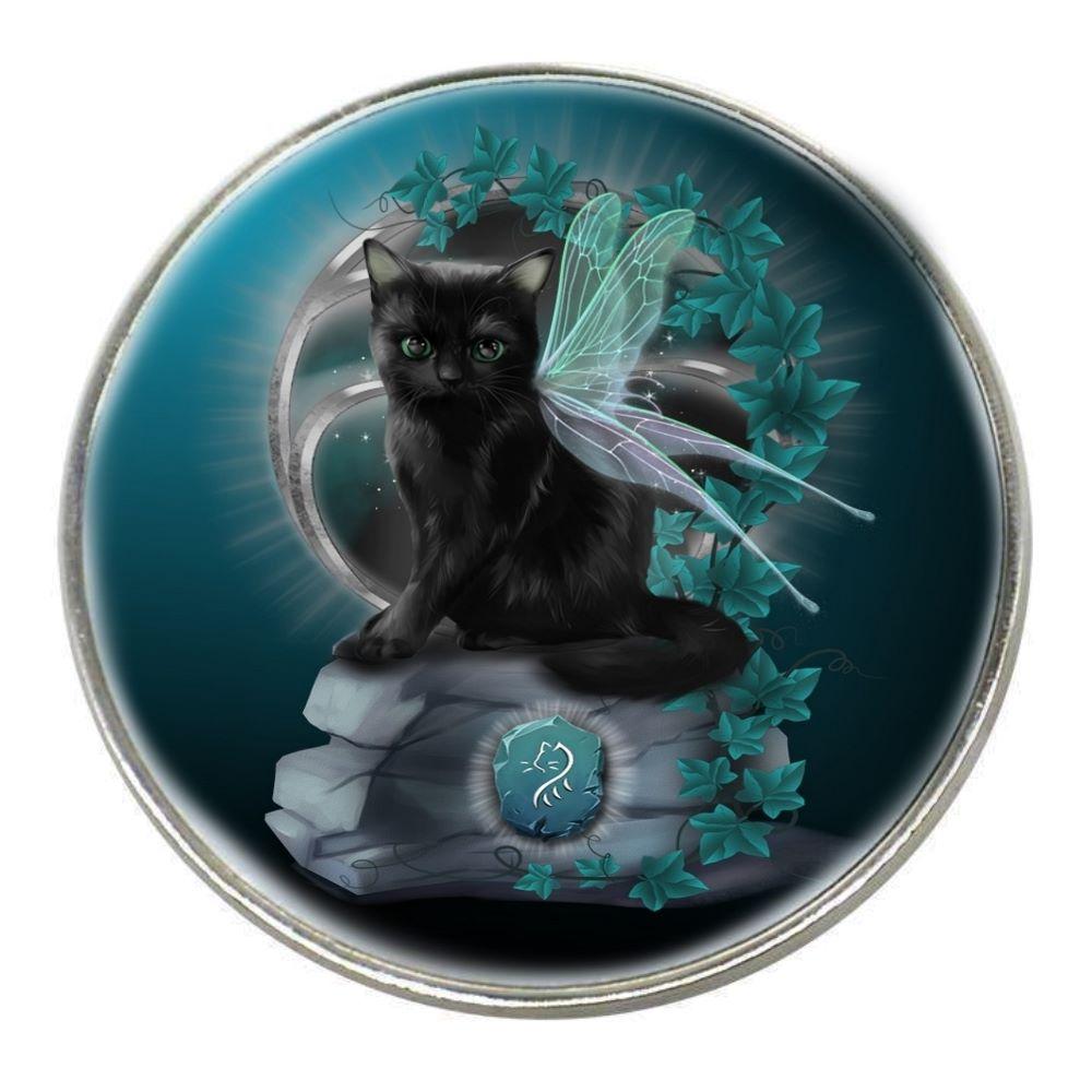 Fantasy Cat - Rune - Chrome Finish Metal Magnet