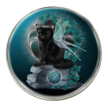 Fantasy Cat - Rune - Chrome Finish Metal Magnet