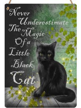 Hanging Metal Sign - Little Black Cat
