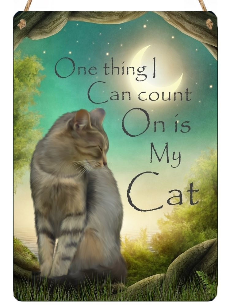 Hanging Metal Sign - I Can Count On My Cat...