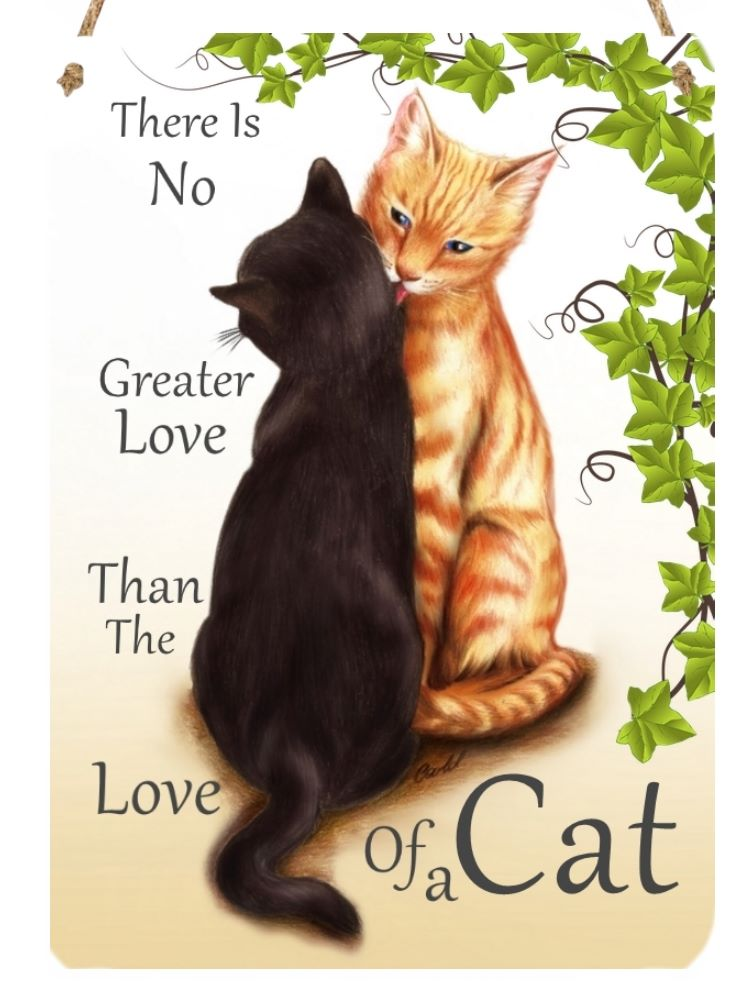 Hanging Metal Sign - No Greater Love - Black & Ginger Cat