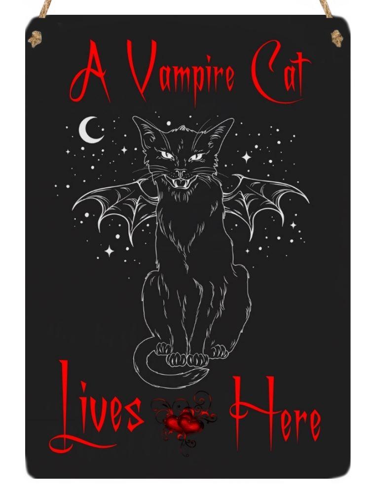 Hanging Metal Sign - Vampire cat