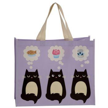 Feline Fine Cat Shopping Bag (3 Black cats)