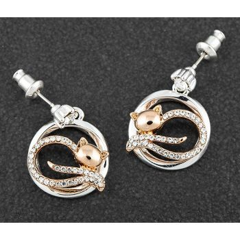 Lazy Cat Two Tone Earrings