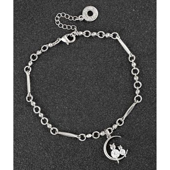 Cats on Moon Platinum Plated Bracelet